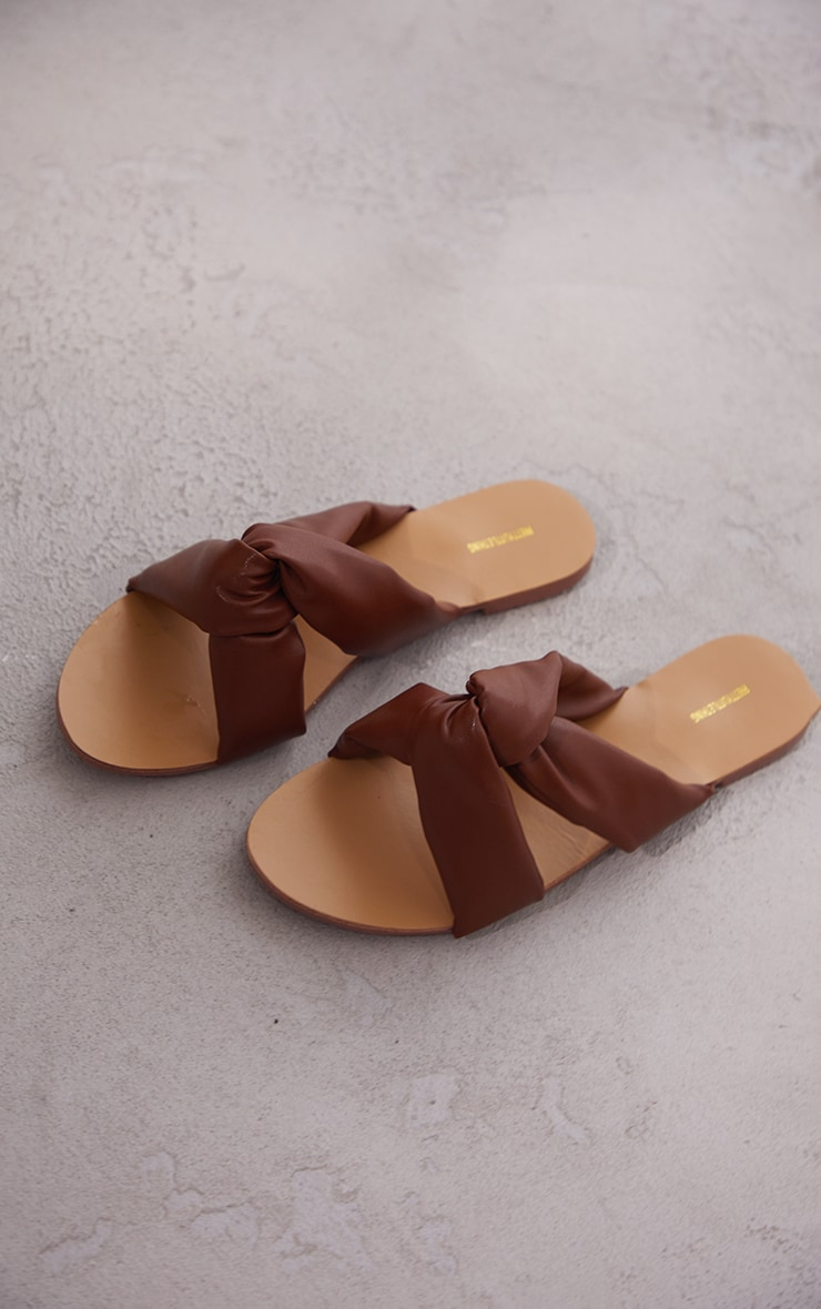 Chocolate Wide Fit Extreme Quilted Knot Detail Mule Sandals 3