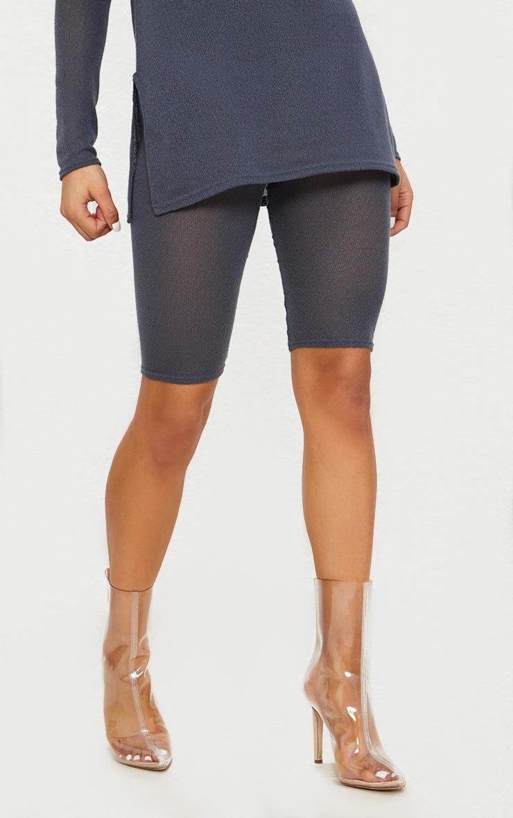 Charcoal Grey Lightweight Knit Cycling Short  2