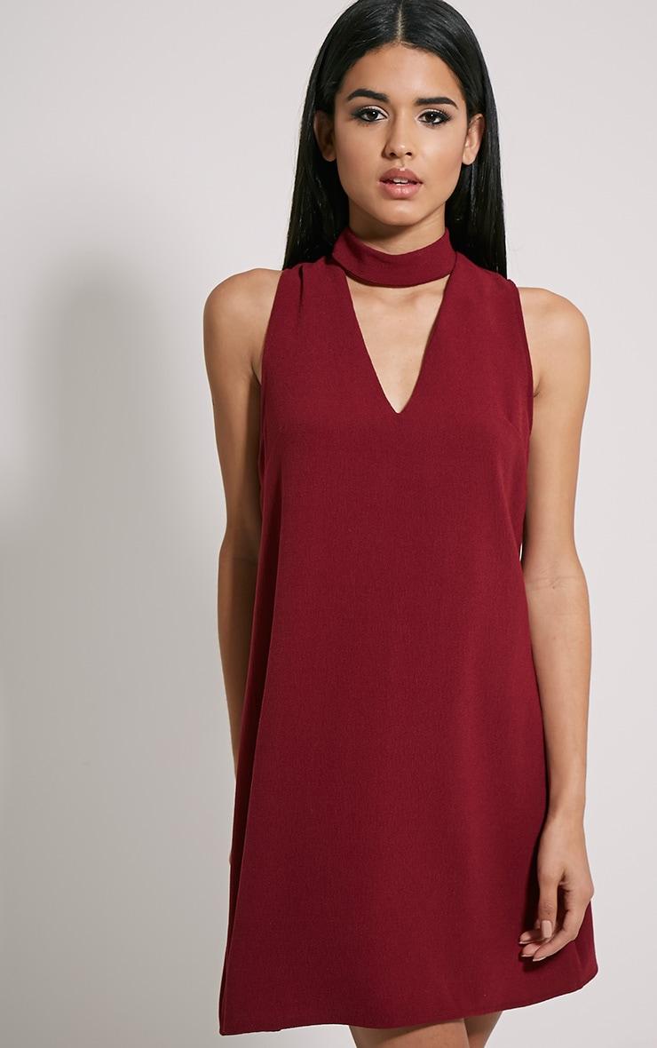 Cinder Burgundy Choker Detail Loose Fit Dress 1