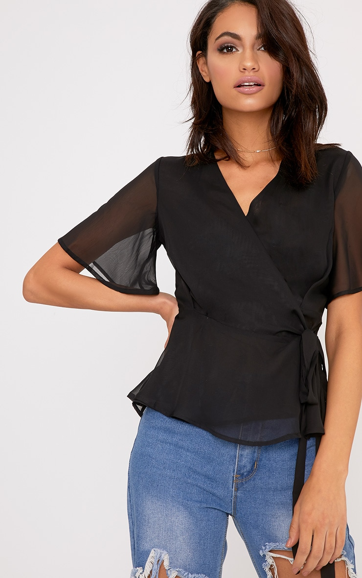 Ananya Black Tie Side Ruffle Blouse  1