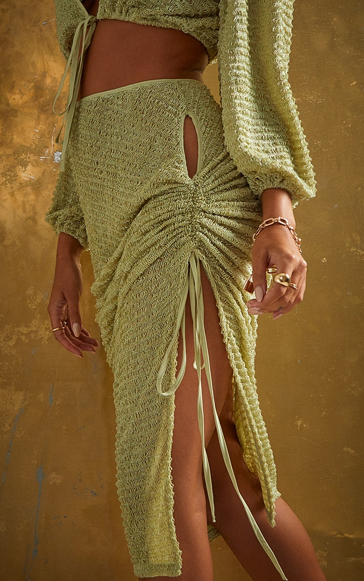Green Textured Cut Out Ruched Side Beach Skirt 4