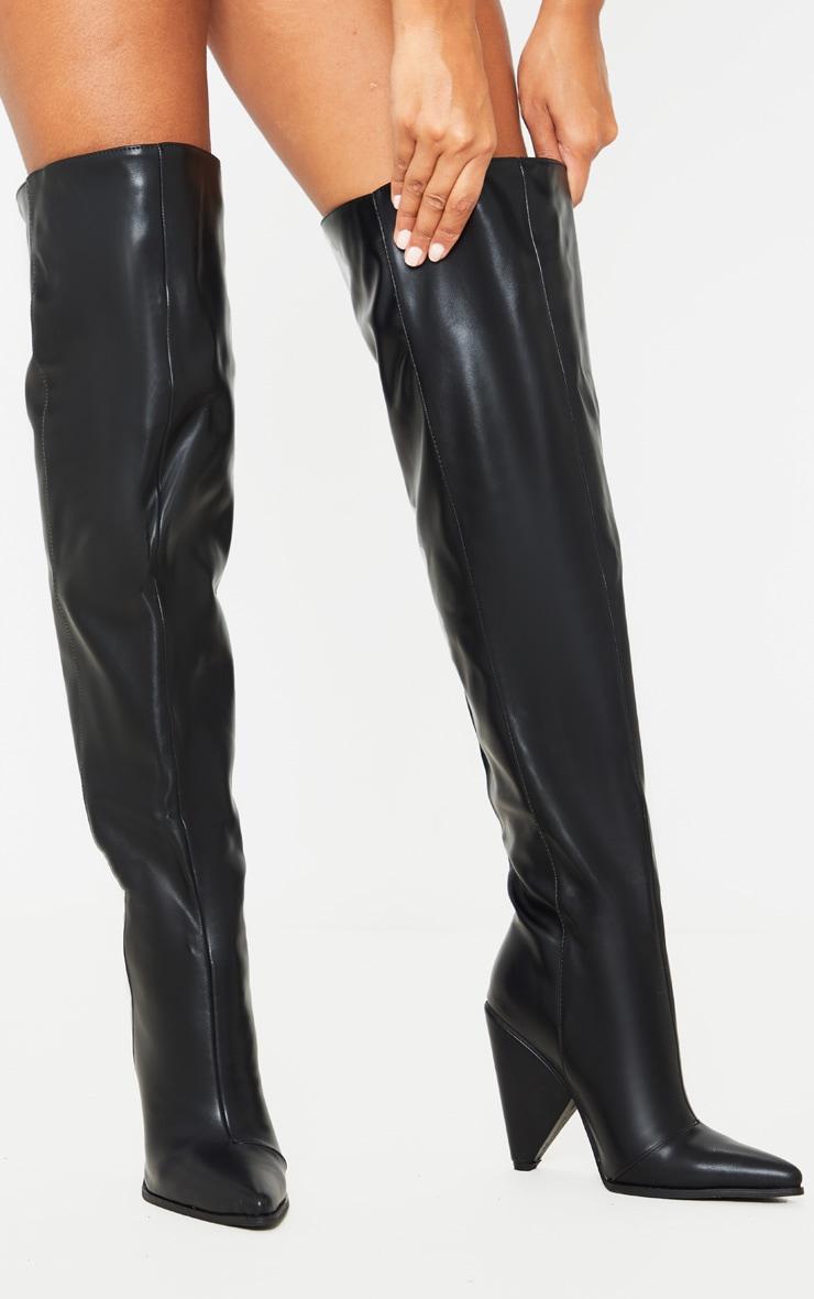 Black Thigh High Cone Heel Boot 1
