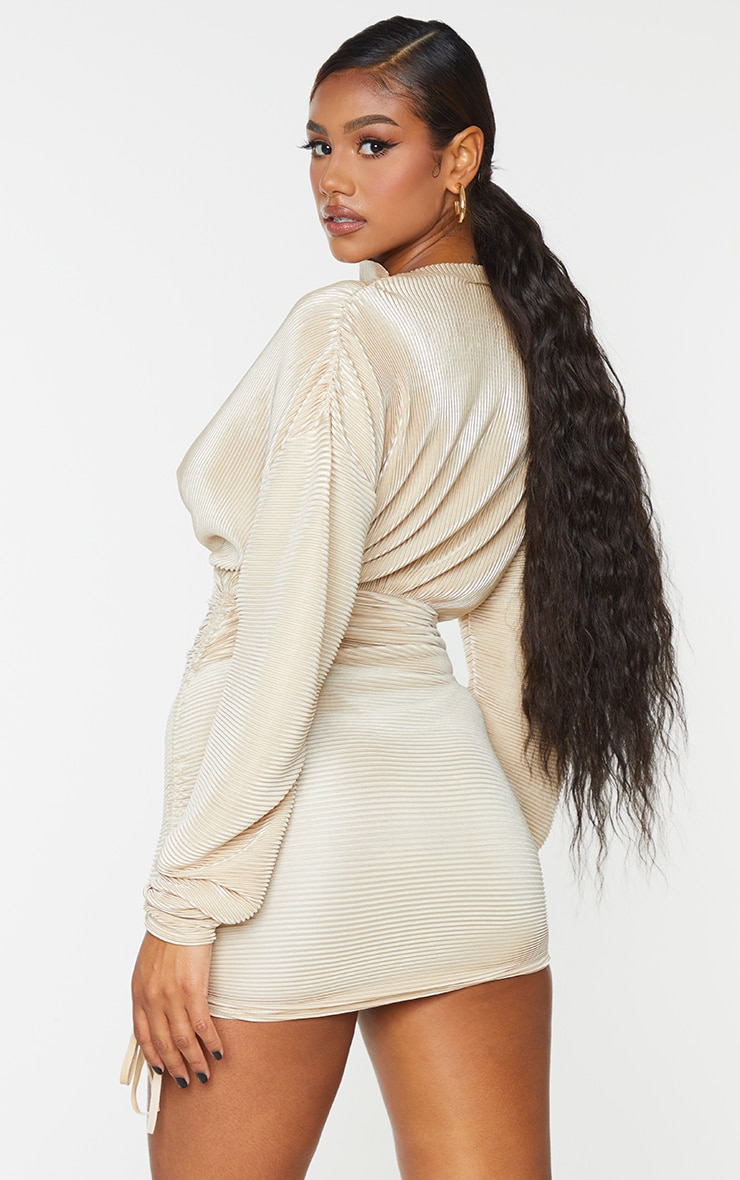 Champagne Plisse Detail Long Sleeve Ruched Skirt Bodycon Dress 2