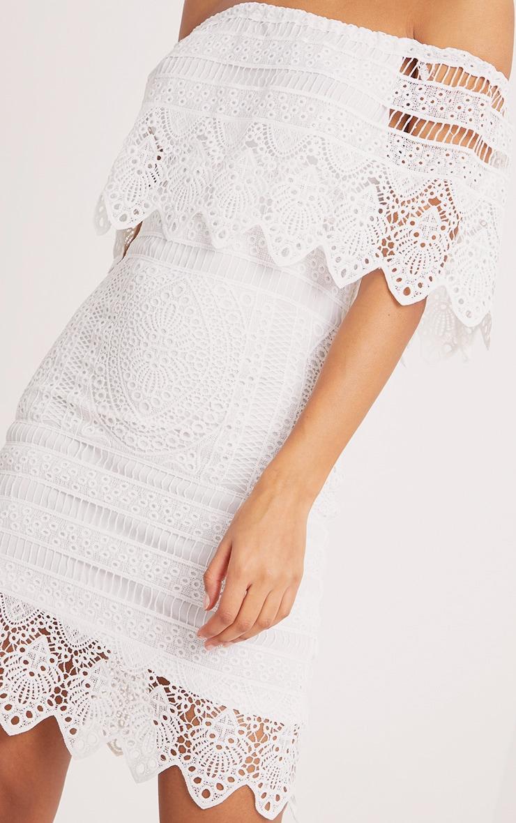 Nora White Lace Bardot Midi Dress 5