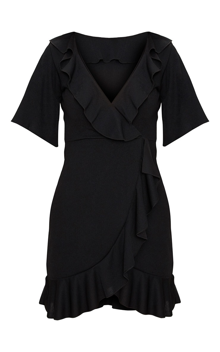 Black Frill Detail Wrap Dress 3