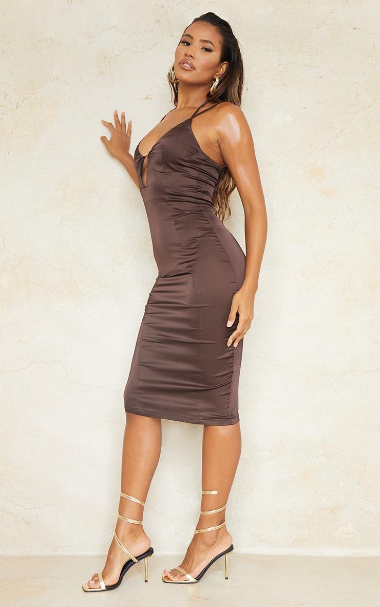 Chocolate Satin Strappy Halterneck Detail Split Hem Midi Dress 3