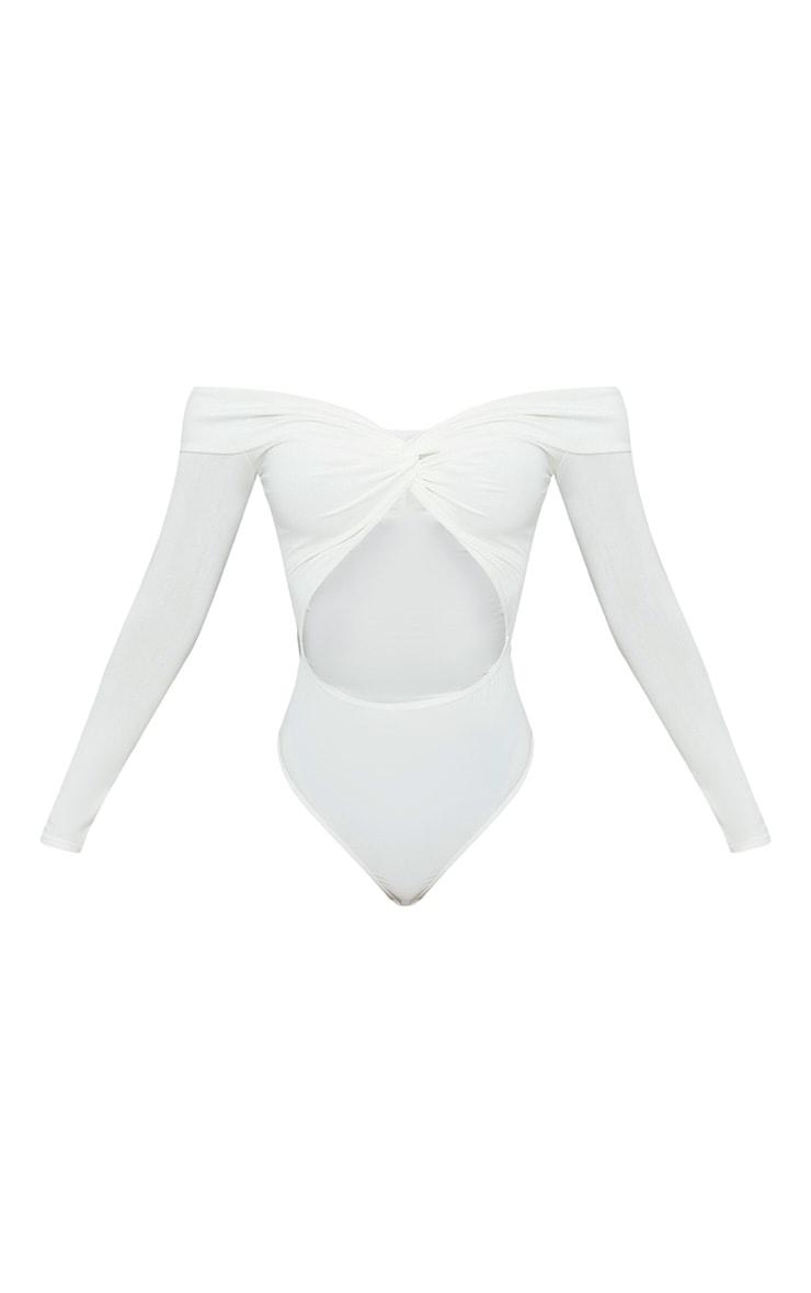 Shape - Body-string bardot moulant blanc torsadé devant 3