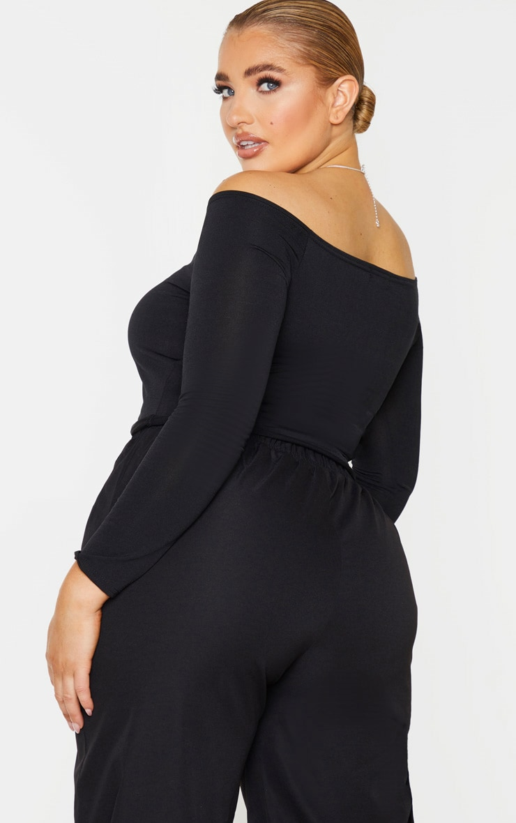 Plus Black Slinky Ruched Front Long Sleeve Crop Top 2