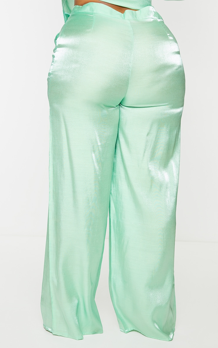 Plus Sage Green Metallic Wide Leg Pants 3