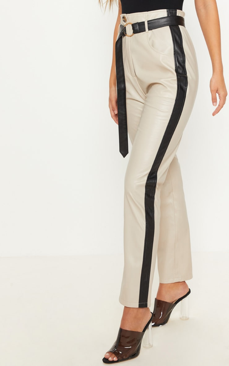 Taupe Faux Leather Side Stripe Trousers 2