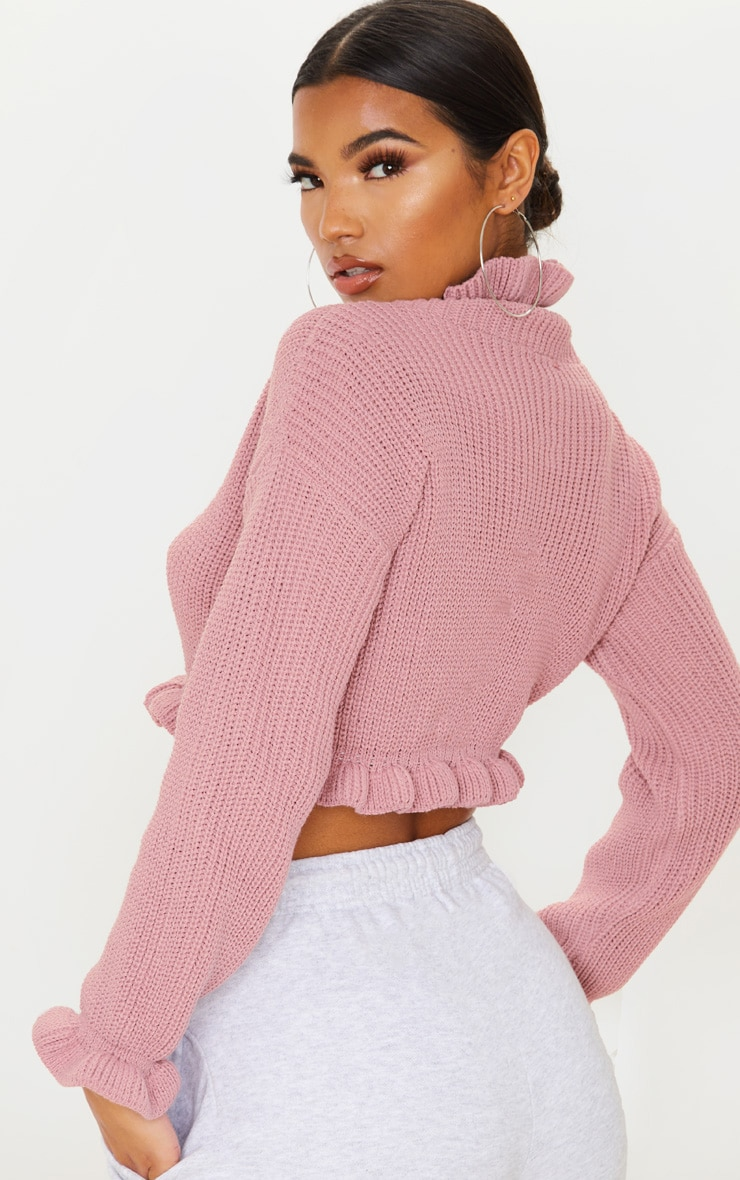 Rose Knit High Neck Ruffle Trim Crop Jumper 2