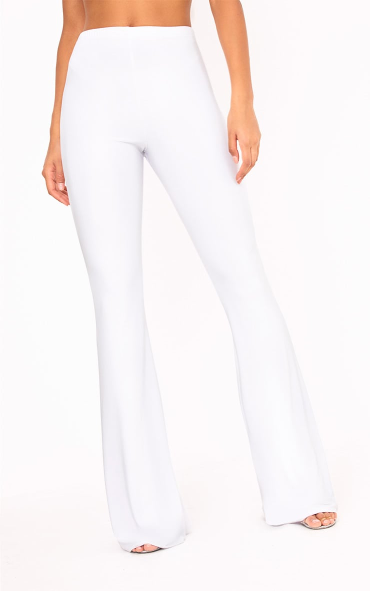 White Slinky Flared Trousers 5