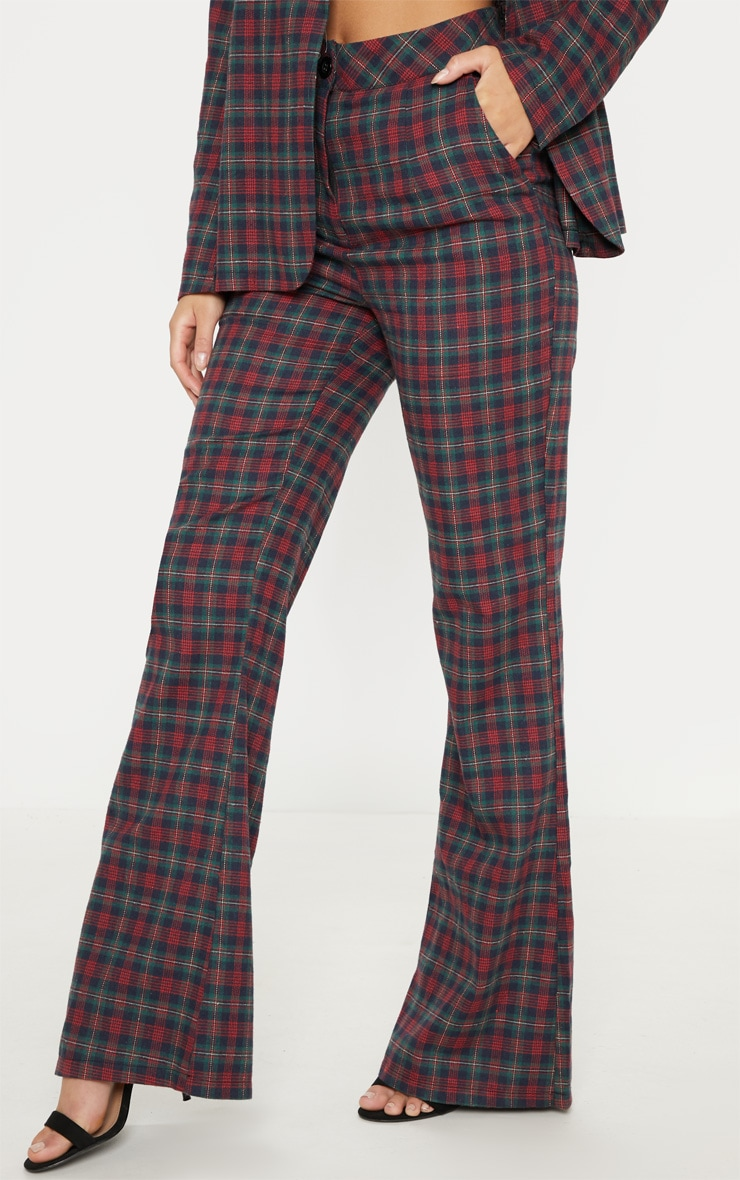 Multi Tartan Print High Waisted Flare Leg Trouser 2