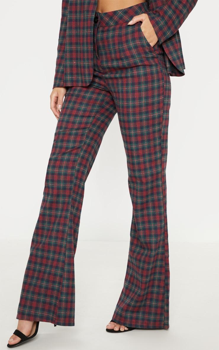 Multi Tartan Print High Waisted Flare Leg Pants 2