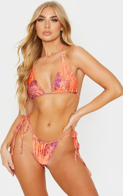 Orange Floral Triangle Bikini Top