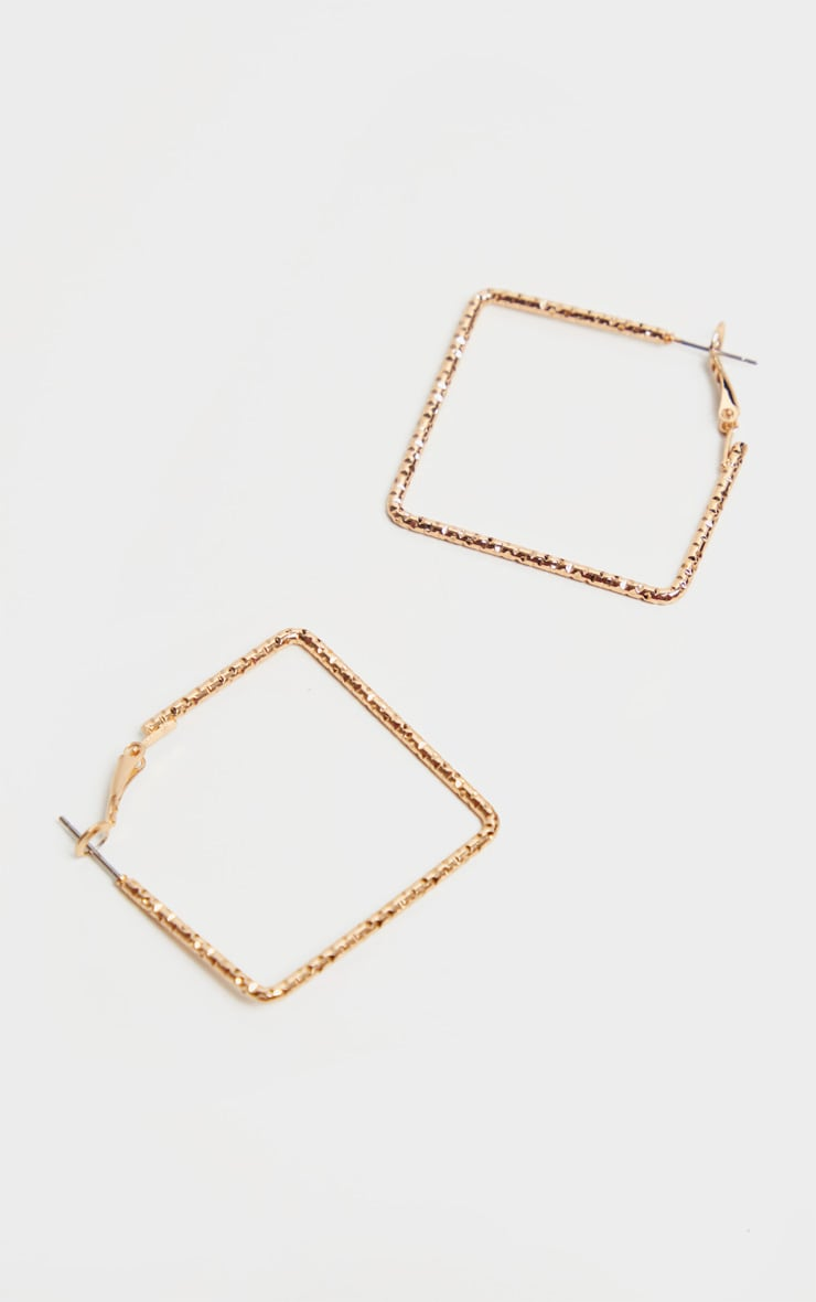 Gold Faceted Square Hoop Pack 2