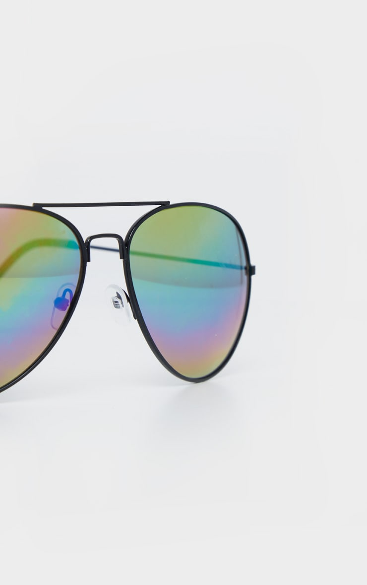Black Multi Rainbow Effect Revo Lens Aviator Sunglasses  4