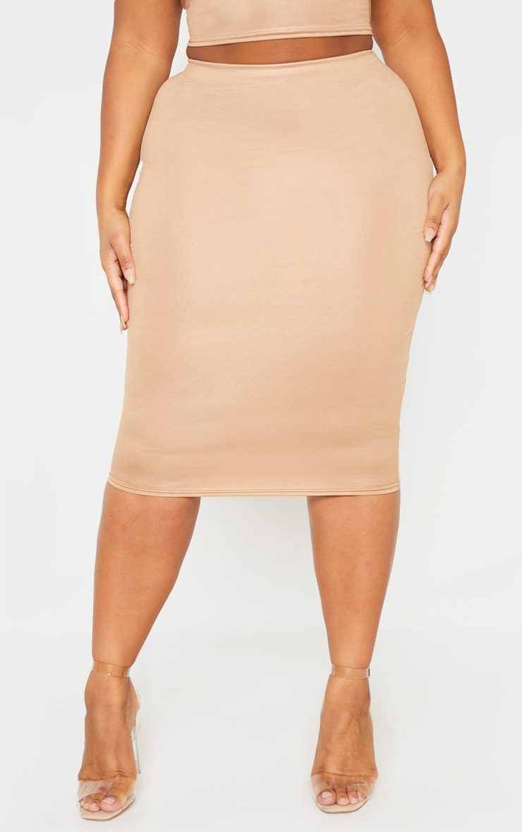 Plus Camel Wet Look Midi Skirt 2