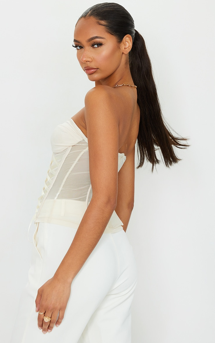 Cream Mesh Lace Tie Front Detail Structured Corset 2