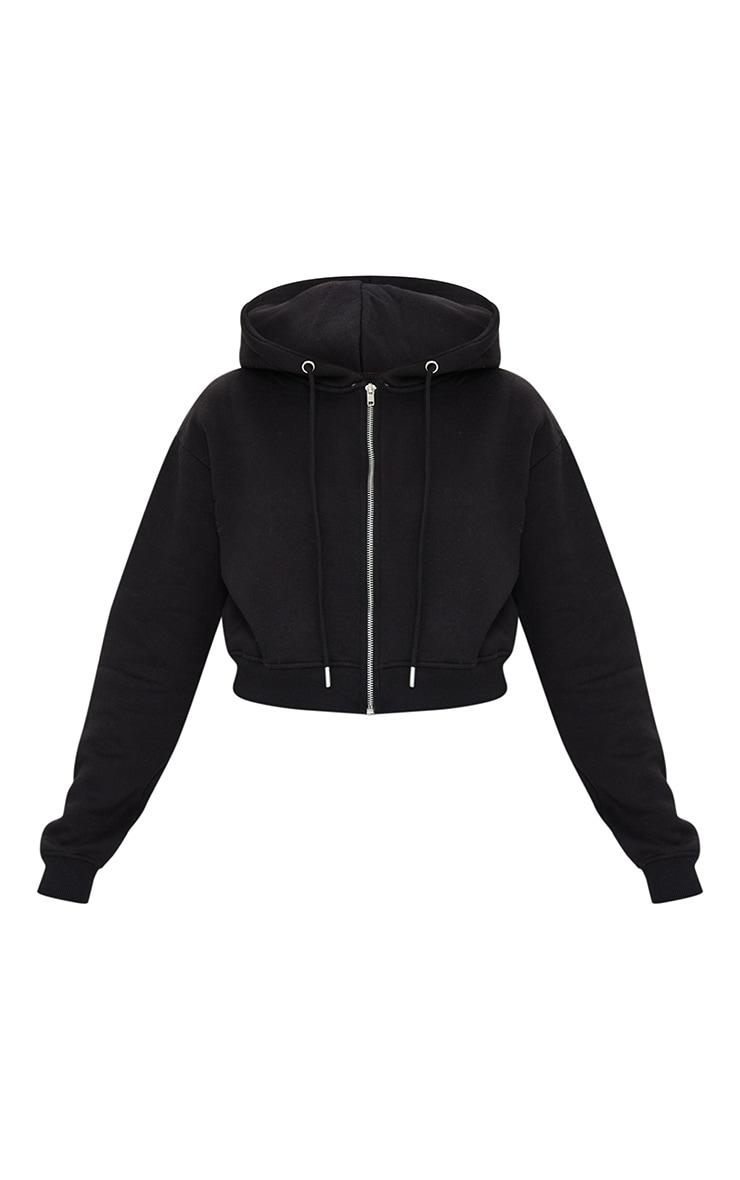 Petite Black Crop Zip Hoodie 5