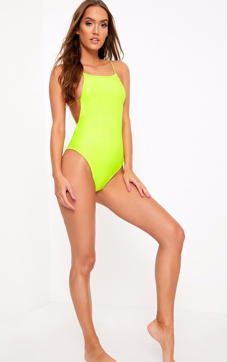 Green 90's Neck Strap Detail Swimsuit 5