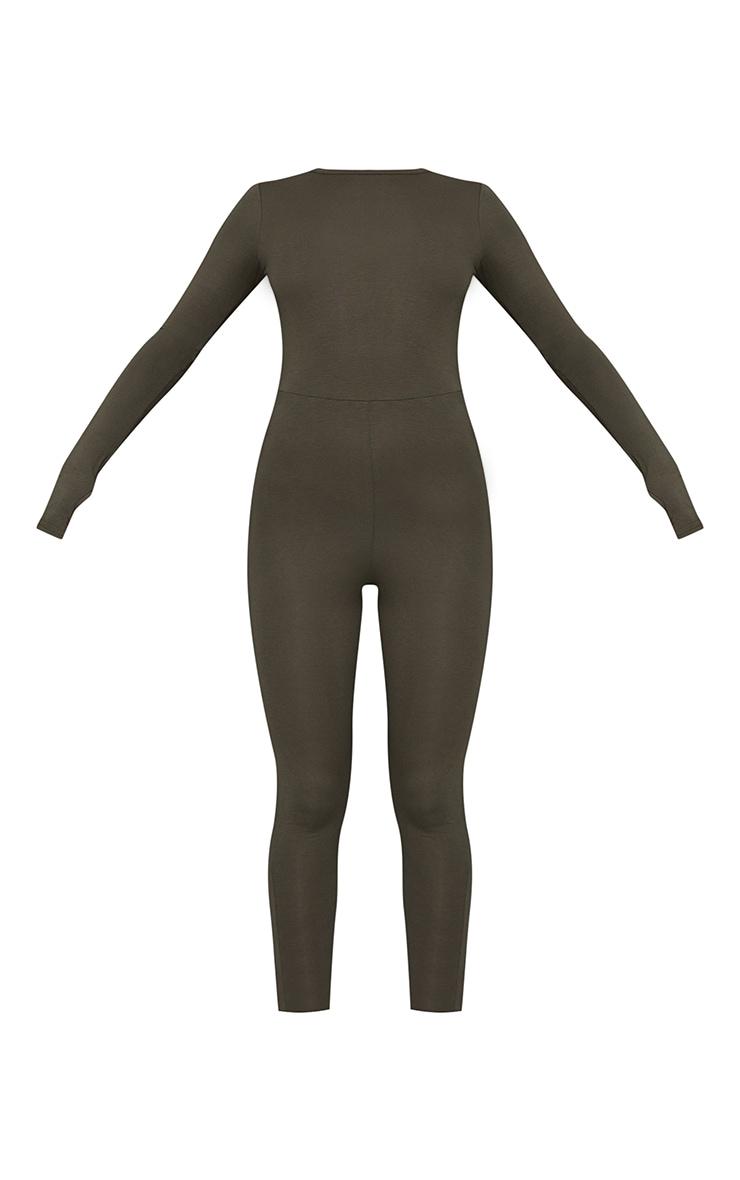 Khaki Thumbhole Open Back Jersey Jumpsuit 5
