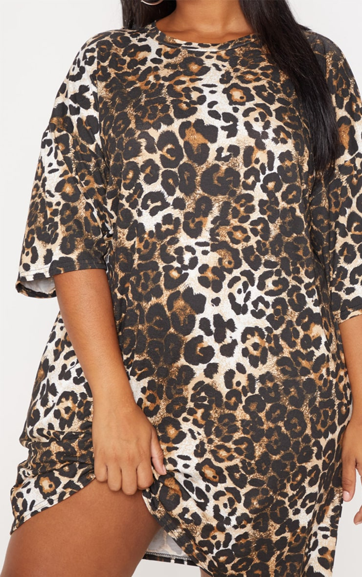 Plus Tan Leopard T-Shirt Dress 5