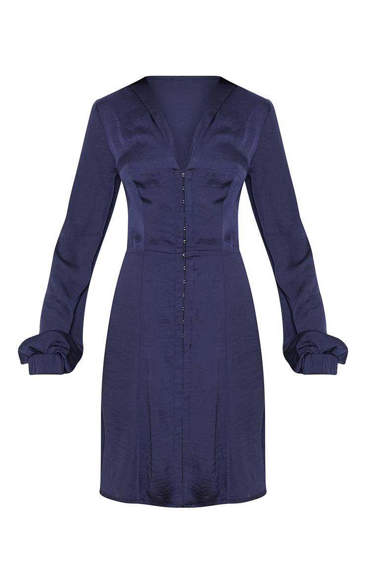 Navy Satin Hook & Eye Shift Dress 3