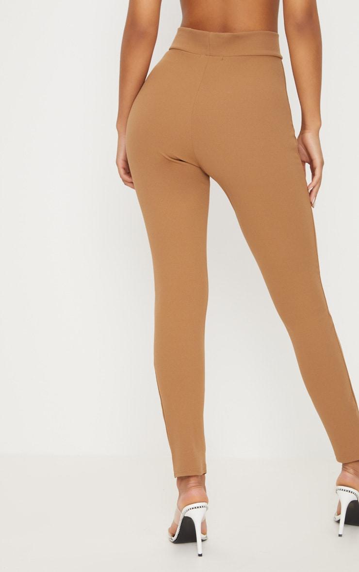 Pantalon camel à attache à la taille et découpe frontale 4