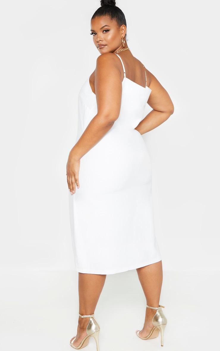 Plus White Woven Strappy Midi Dress 2