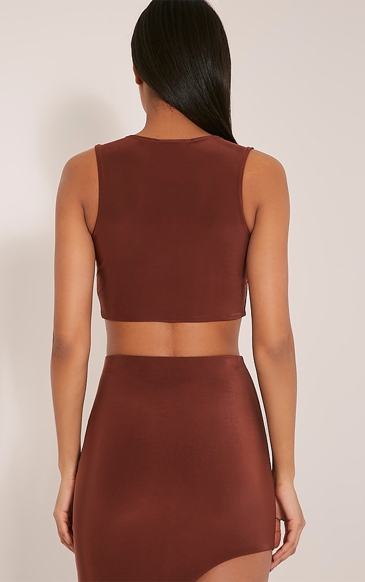 Marlee Coffee Curved Hem Crop Top 2