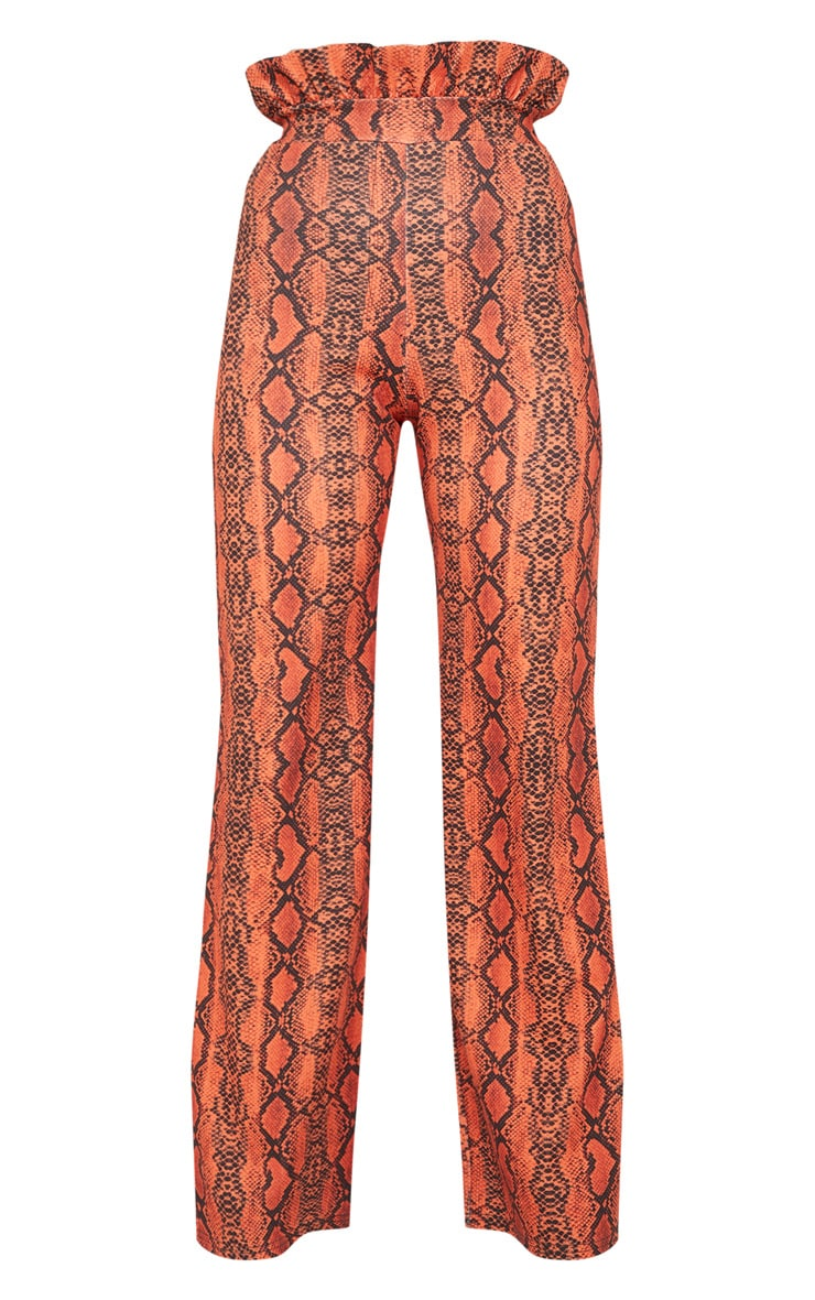 Petite Neon Orange Snake Print Frill High Waist Trousers 3