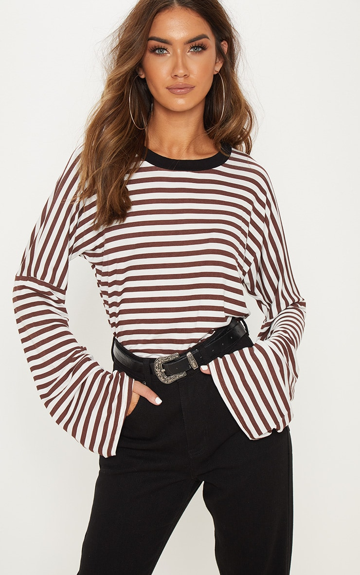 brown oversized stripe long sleeve top