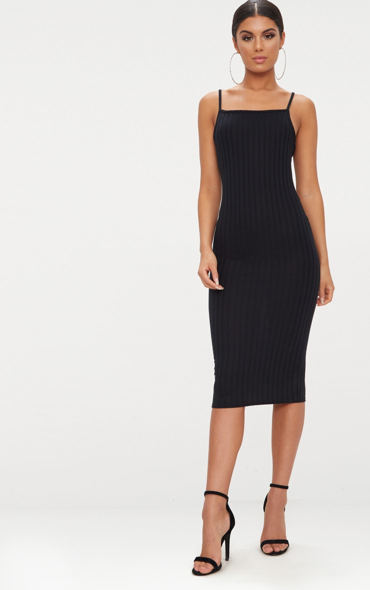 Black Straight Neck Rib Knit Midi Dress 1