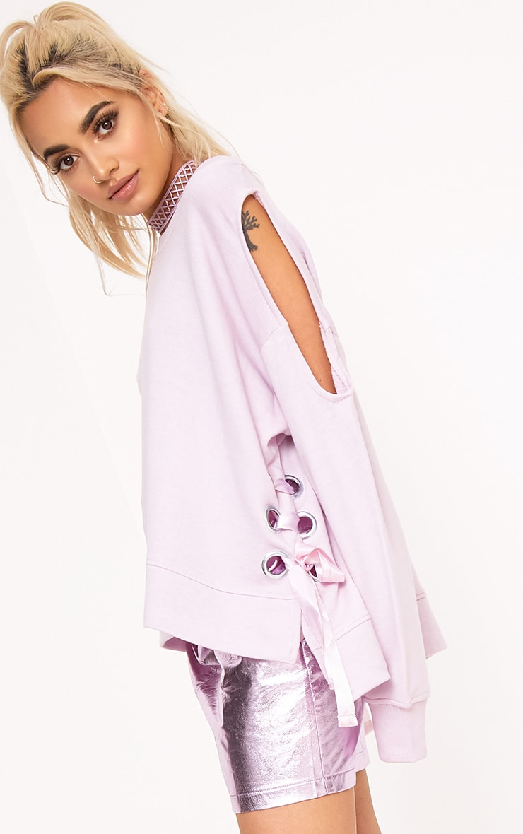 Hansini Lilac Lace Up Detail Sweater 1