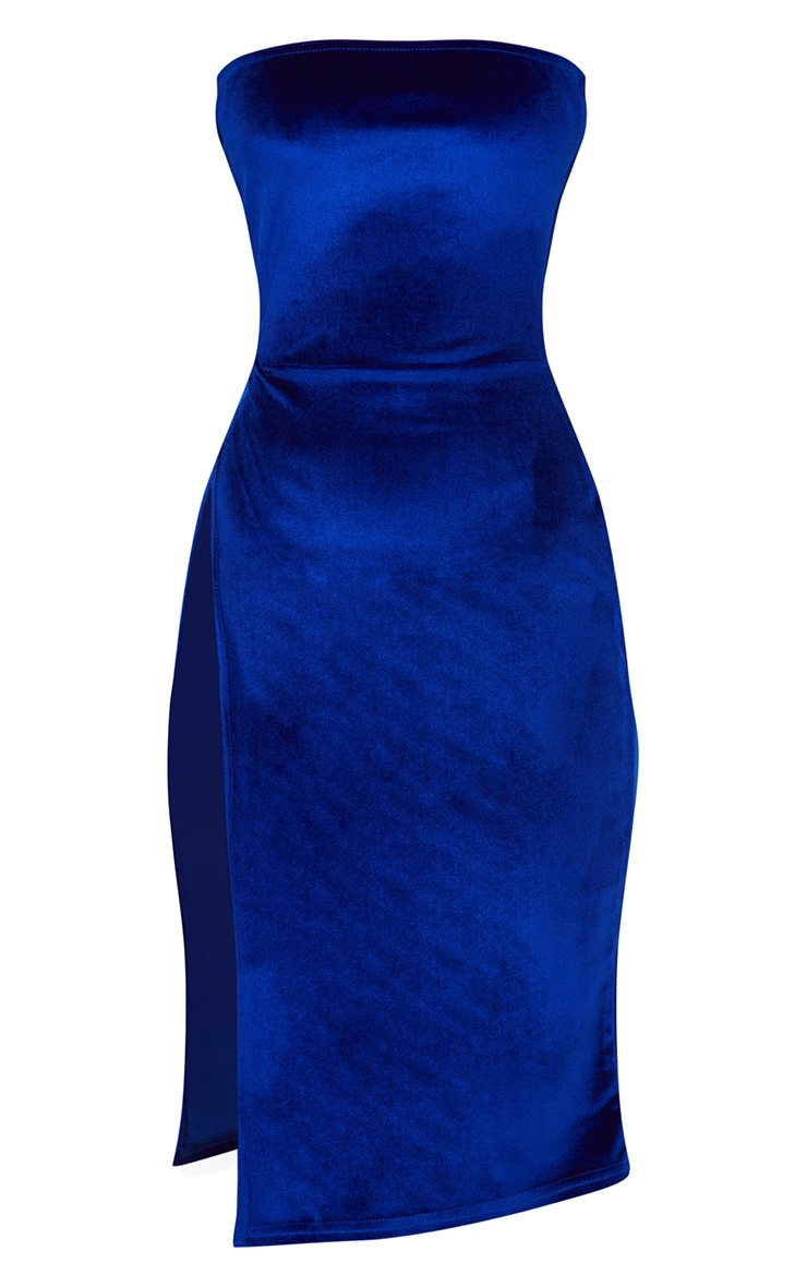 Cobalt Velvet Extreme Split Bandeau Midi Dress 3