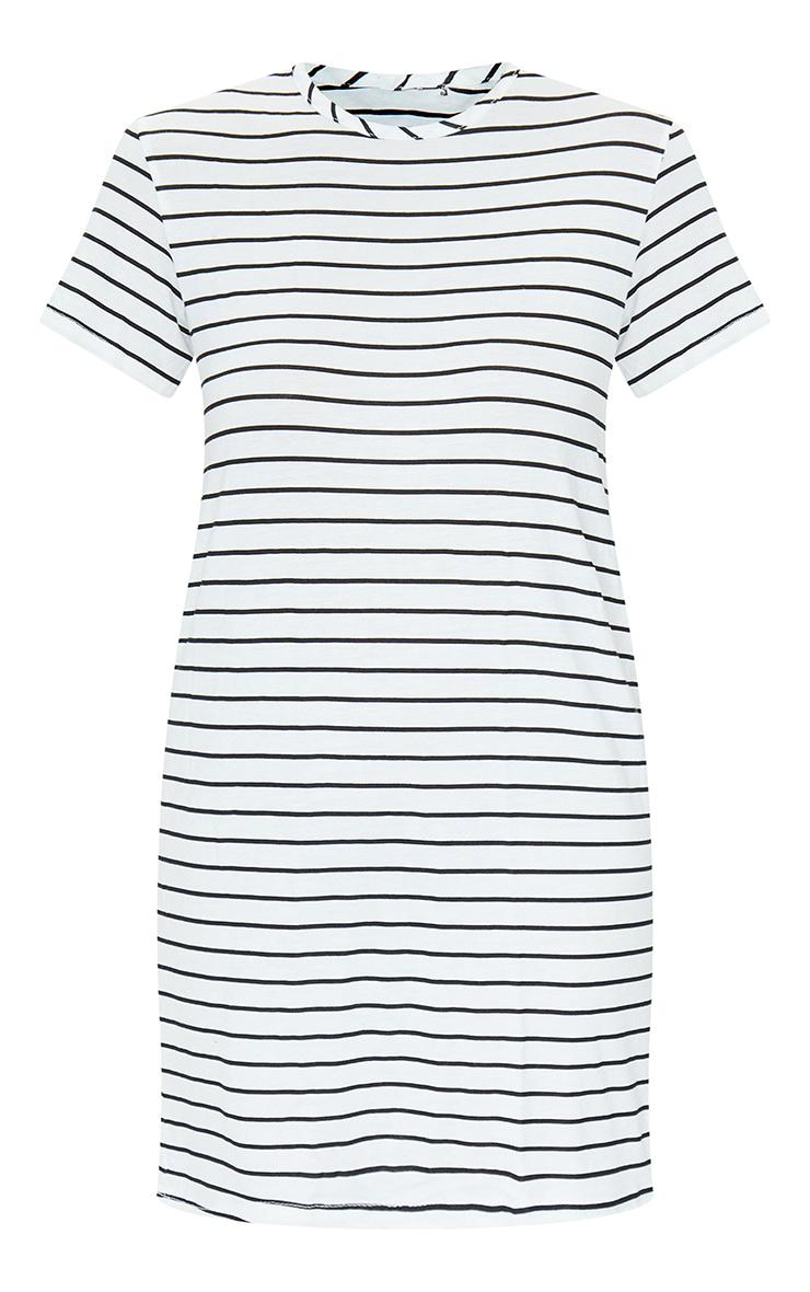 White and Black Striped Basic Short Sleeve Round Neck T Shirt Dress 5