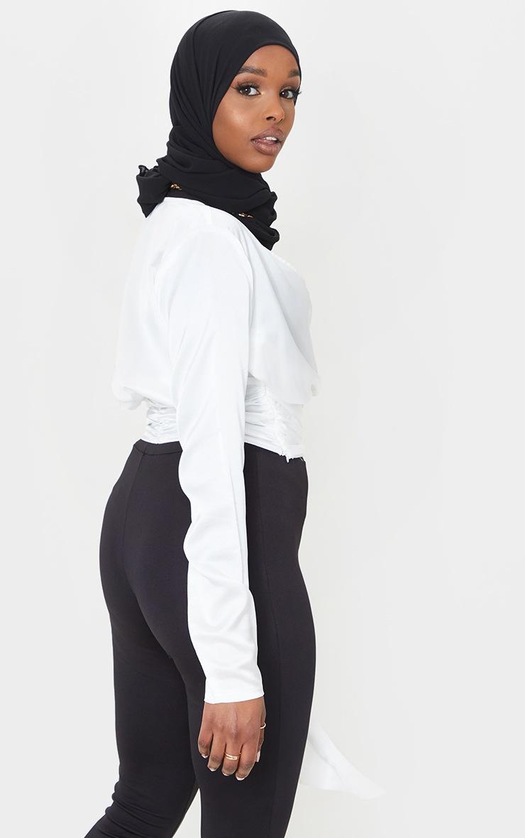 White Printed Wrap Tie Blouse 2