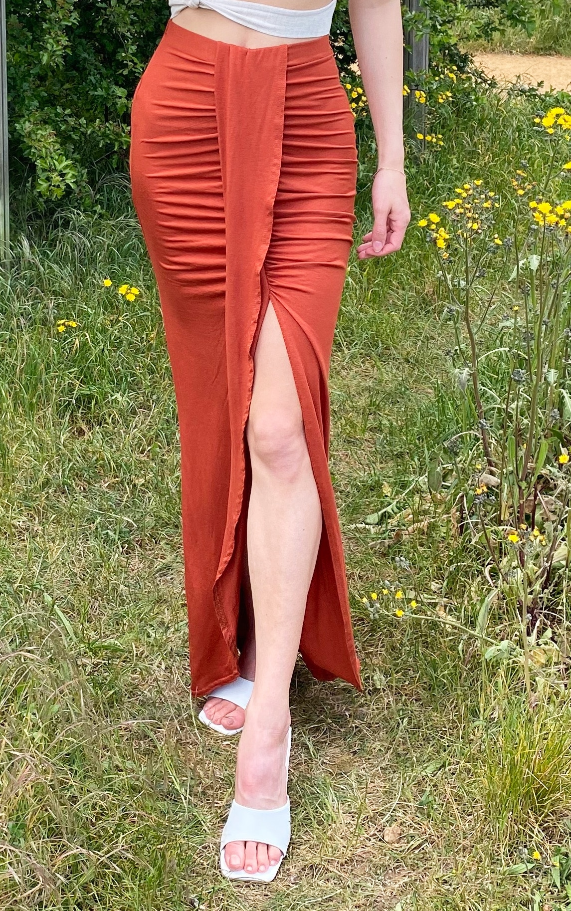 Rust Jersey Drape Front Midaxi Skirt 2
