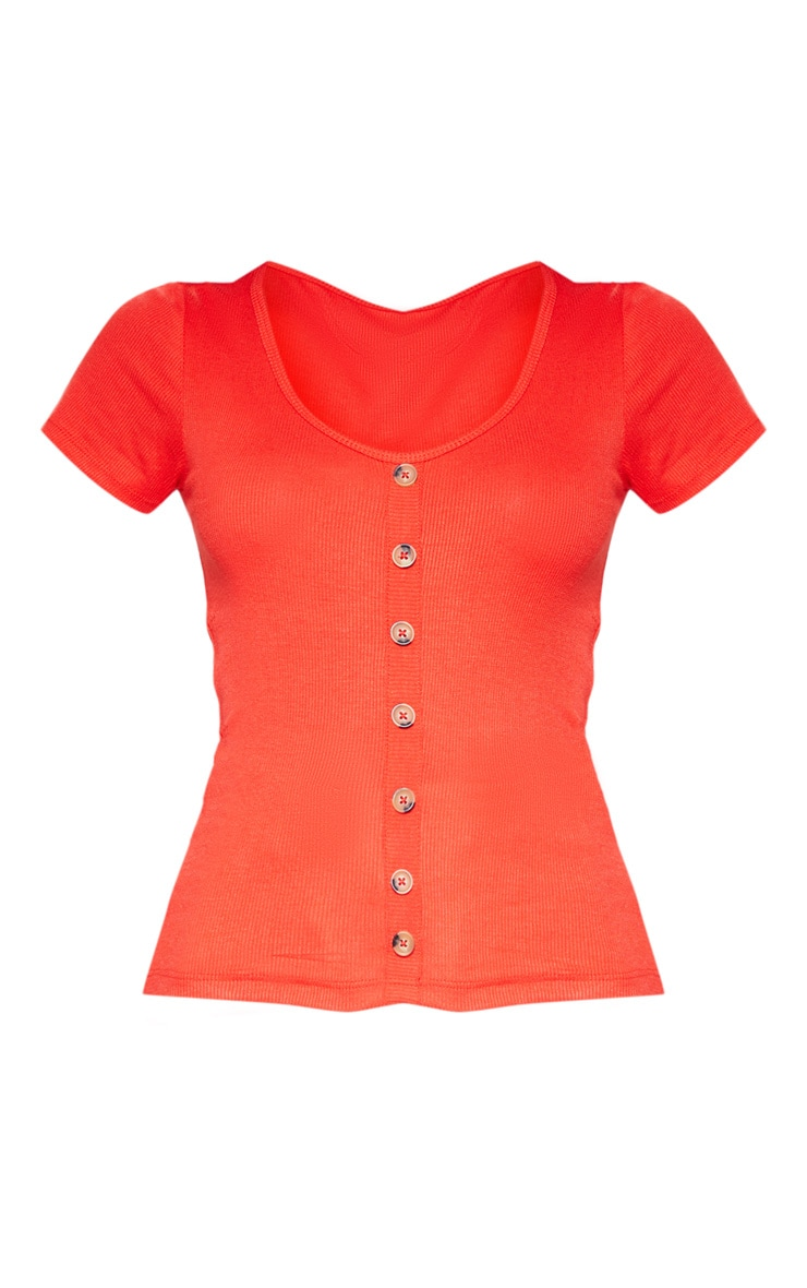 Red Scoop Neck Button Front Short Sleeve Top 3