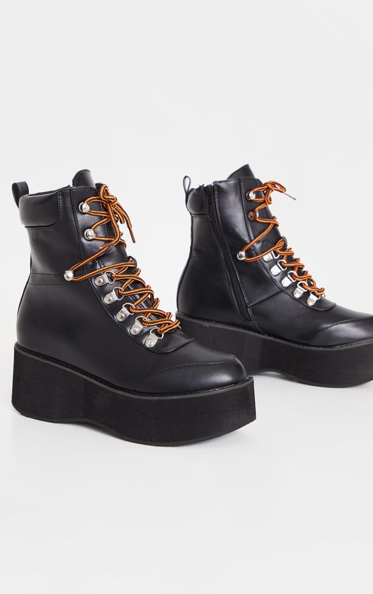 Black Hiker Flatform Lace Up Boot 3