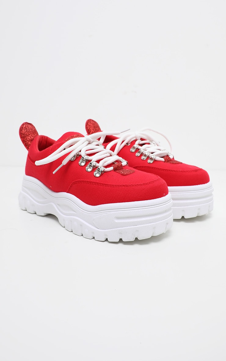 Red Flatform Chunky Hiker Trainer 4