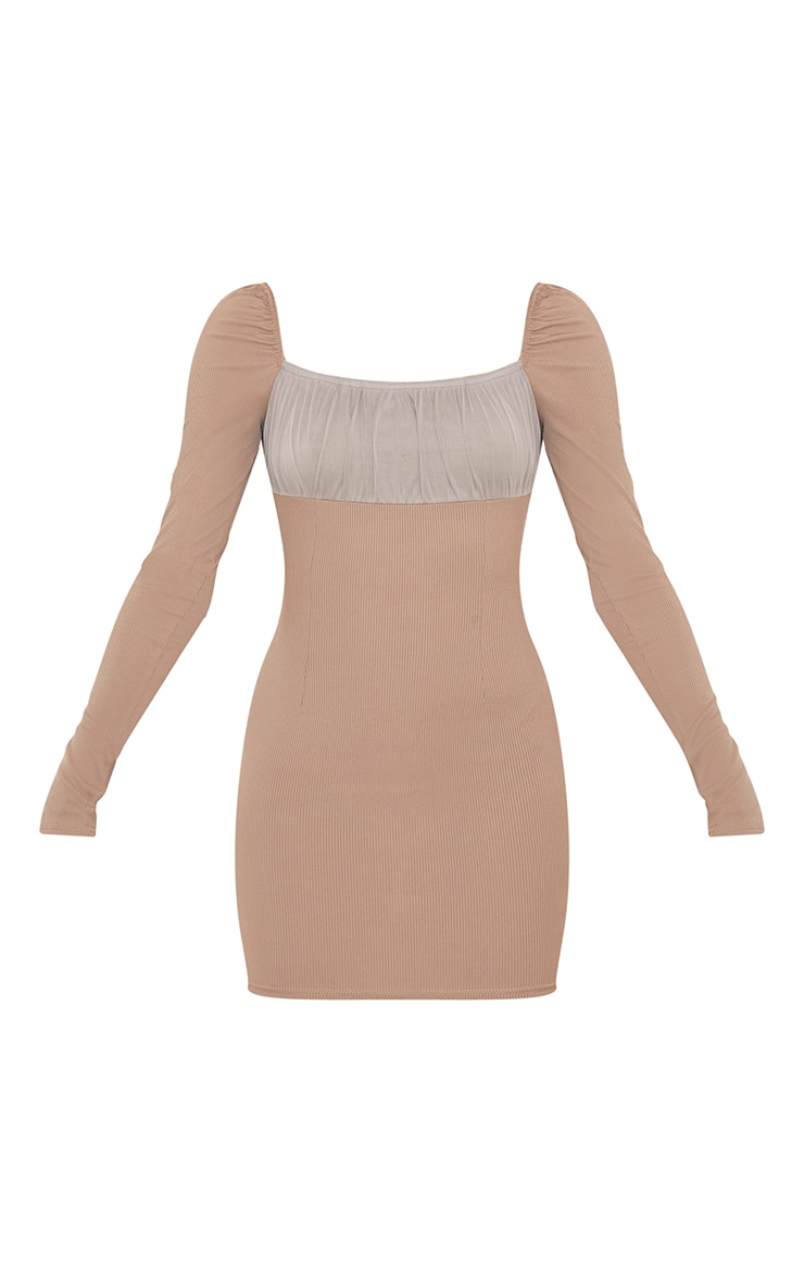 Taupe Ribbed Mesh Ruched Bust Panel Bodycon Dress 5