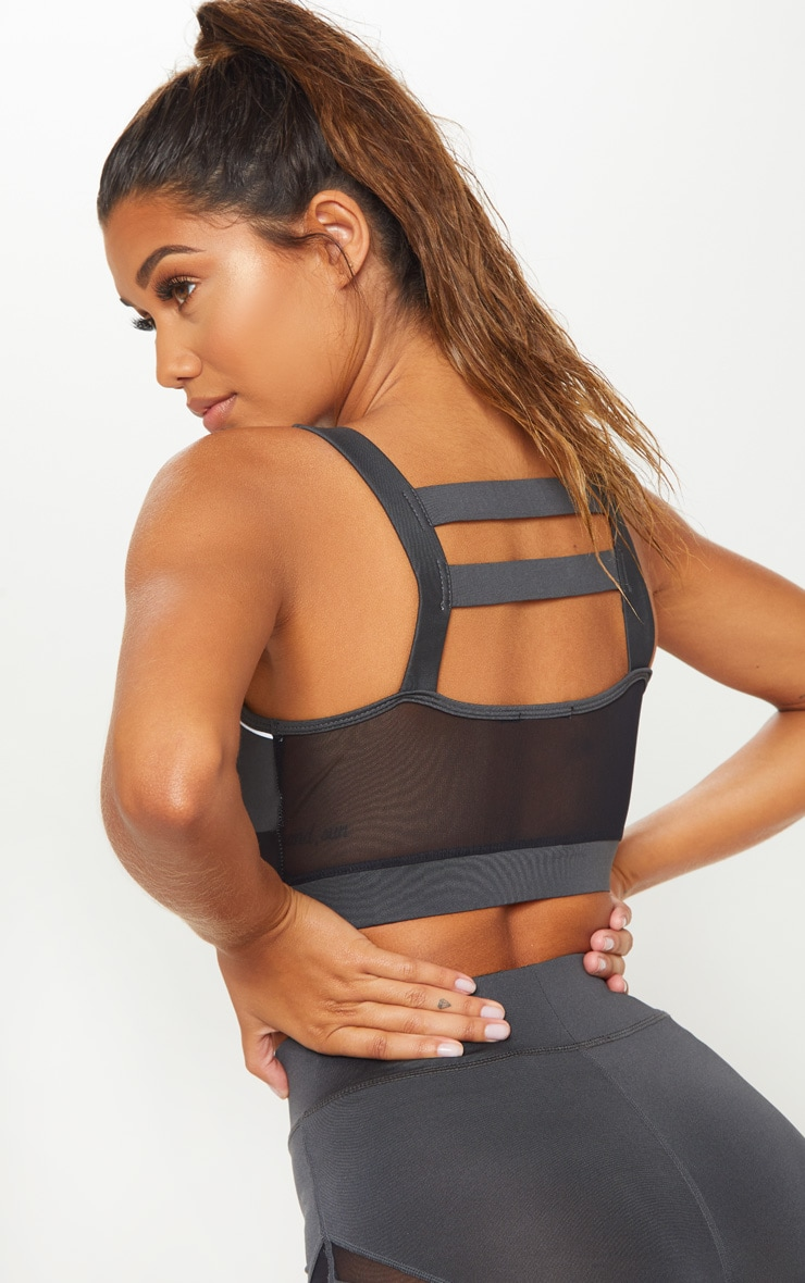 Charcoal Cage Back Reflective Sports Bra 5