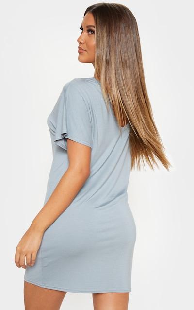 Lead Grey Basic V Neck T Shirt Dress
