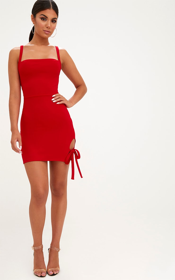 Red Thigh Tie Detail Bodycon Dress 4
