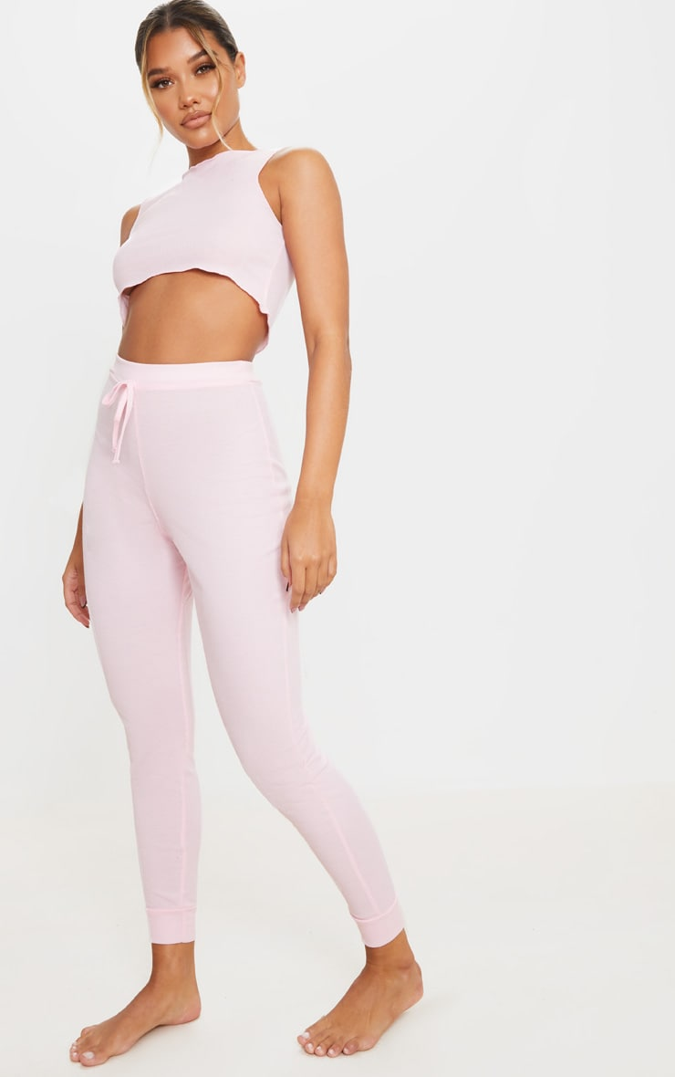Pink Ribbed Legging And Frill Edge Crop PJ Set 3