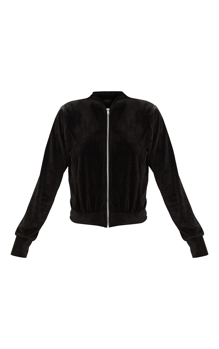 Black Velour Cropped Tracksuit Jacket 3