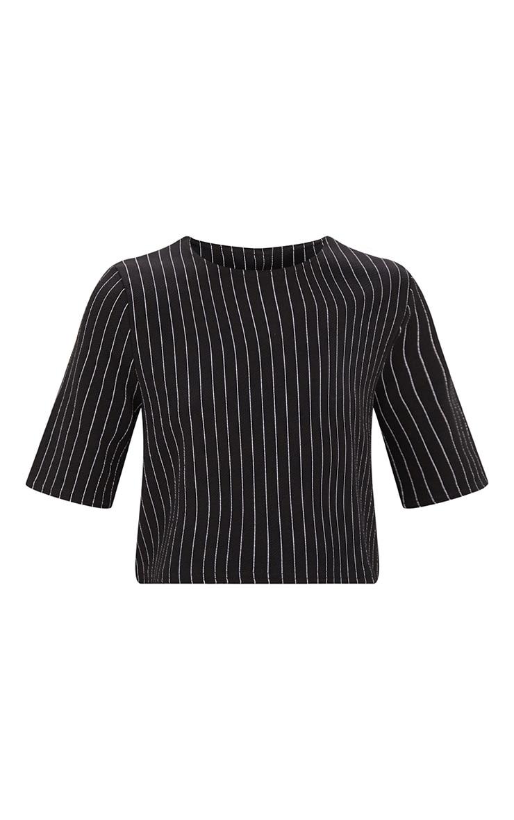 Black Pinstripe Crop T Shirt  3