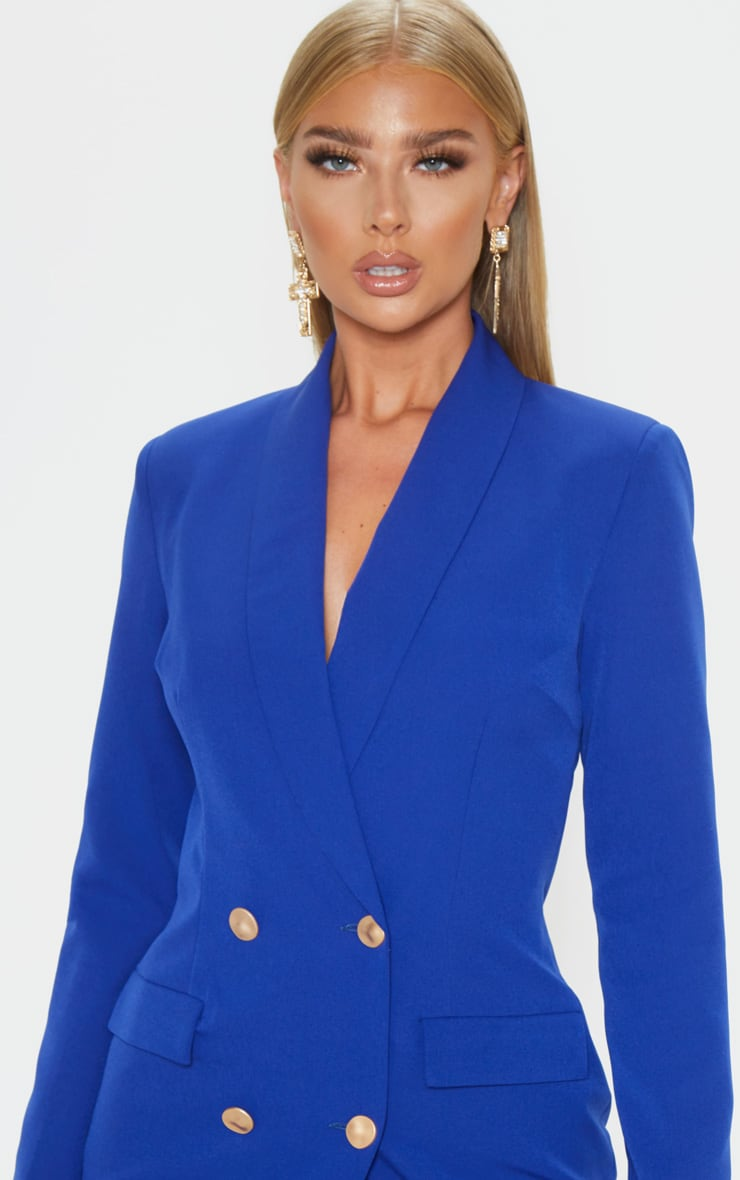 Blue Gold Button Blazer Dress 5